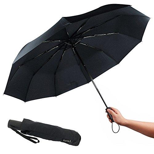 Ombrello Compatto Con Apertura/Chiusura Automatica, 106 Cm Con 9 Stecche, Resistente, Leggero, Robusto, Facile da Trasportare, Funzionamento a Una Sola Mano, Antivento& Temporale Da Kurelle.