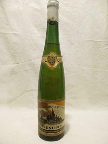 riesling coopérative de hunawihr non millésimé années 1960 à 1970 étiquette tâchée blanc années 60 - alsace france