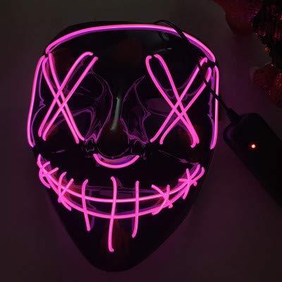 1 STÜCKE Halloween Maske LED Leuchten Party Maske Die Purge Wahl Jahr Große Lustige Masken Festival für Party Game, Rose (Die Purge-stil Halloween-maske)