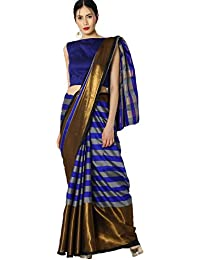 Indian Beauty Partywear Striped Saree With Zari Border