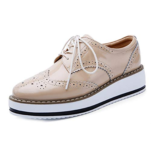 Damen Plattform Oxford Schuhe Wingtip Vintage Lace Up Mid Chunky Ferse Casual Dress Keil Oxfords Beige
