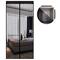BAOFI Magnetic Screen Door Fiberglass-New Upgraded Magnets & Strengthen Top Never Ripped-Durable Fiberglass Mesh Curtain with Weights in Bottom-Full Frame,32x80in/80x200CM
