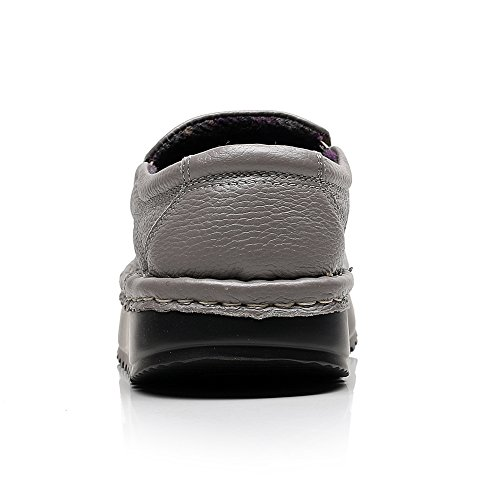 Shenn Femme Plate-forme Glisser Sur Confort Cuir Baskets Chaussures 2601 Gris