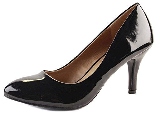 Ladies Work Pumps Low Mid Heels Stiletto Court Shoes Black Patent Size...
