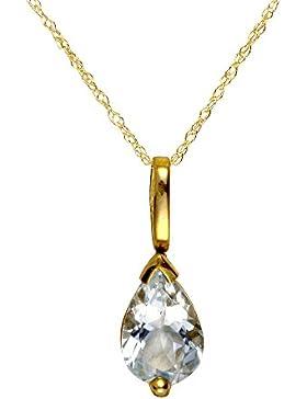Ivy Gems Halskette mit Tränenanhänger, Gelbgold 9kt, Prince-of-Wales-Kette, 46cm