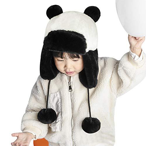 Afinder - cappello da panda per bambini, con cappuccio e paraorecchie, in morbido peluche, ideale per feste in maschera, halloween, natale, cosplay, travestimenti panda taglia unica