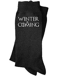 Calcetines de hombre Winter is coming. Calcetines divertidos, con mensaje. Parodia Juego de