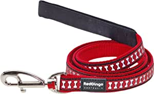 Red Dingo Reflective Dog Lead, Red, (18mm x 1.2m)