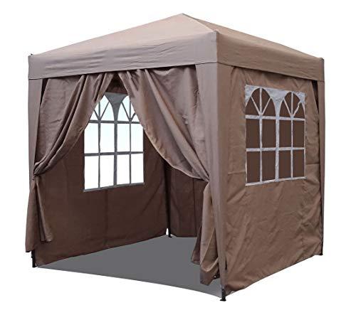 QUICK STAR Pop-Up Faltpavillon 2 x 2 m Sand mit 4 Easy Klett Seitenwänden mit 2 Fenstern und Reißverschluss