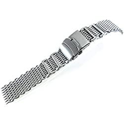 JRRS7777 24mm Stainless Steel Mesh Bracelet Watch Band Titanium 1224WHIT