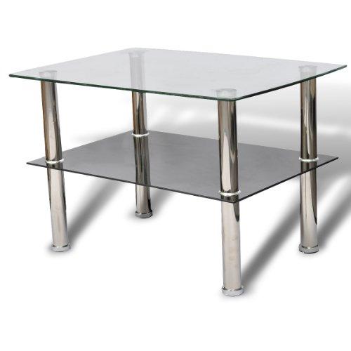 vidaXL Glastisch Couchtisch Glas 2 Ebenen Tisch Beistelltisch Wohnzimmertisch