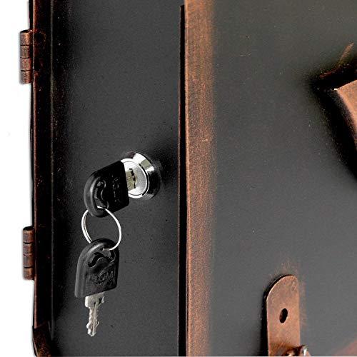 Briefkasten alter Schulranzen mit Posthorn im Antik-Look – Schwarz-Kupfer – Entnahme: Links - 4