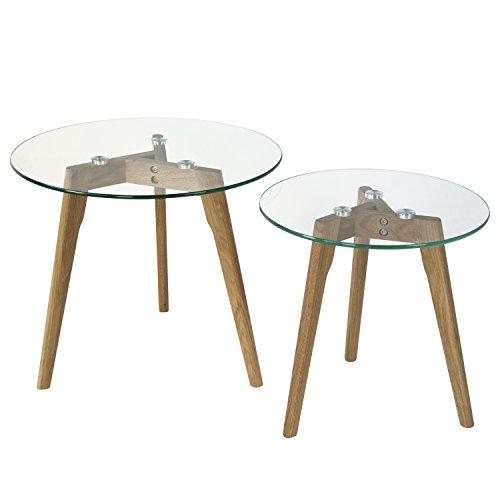 Homestyle4u 1822, Beistelltisch Glas Holz, 2-er Set Rund, Tisch Groß Ø 50 Klein Ø 40 cm -