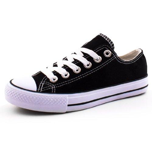 Marimo Damen Sneaker Low Top Schuhe Canvas Textil Schwarz 38