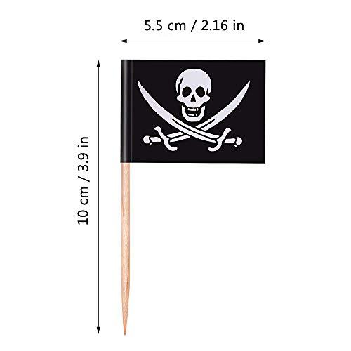 Bandera de Palillo de Dientes, 80 Piezas Pirate Bird Treasure Map Bandera...
