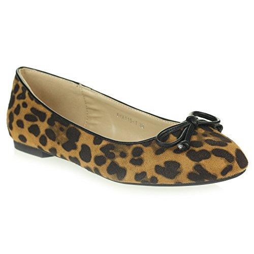 Frau Damen Jeden Tag Beiläufig Komfort Leopard Druck Schlüpfen Ballerinas Ballett Pumps Flache Kamel Schuhe Größe 40 (Leopard Schuhe Ballet)