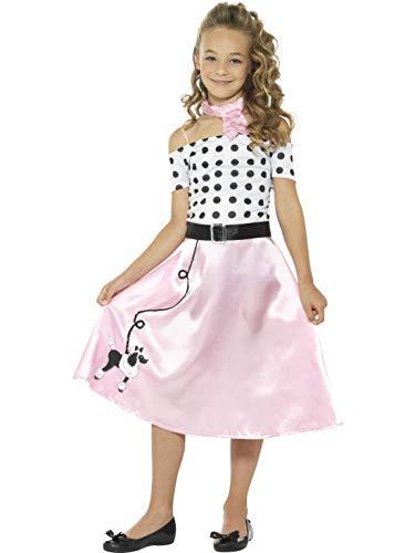 (Halloweenia - Mädchen Kinder 50er Jahre Poodle Girl Kostüm im Grease Stil mit Kleid, Gürtel und Halstuch, perfekt für Karneval, Fasching und Fastnacht, 158-170, Rosa)