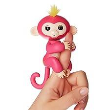Fingerlings Äffchen pink mit gelbem Haar Bella 3705 interaktives Spielzeug, reagiert auf Geräusche, Bewegungen und Berührungen