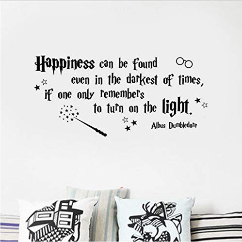 XQWZM New Happiness Can Be Found. Vinyl Wall Decal Kids Room Decor Quote Albus Dumbledore Art Mural Wall Stickers 58X27Cm