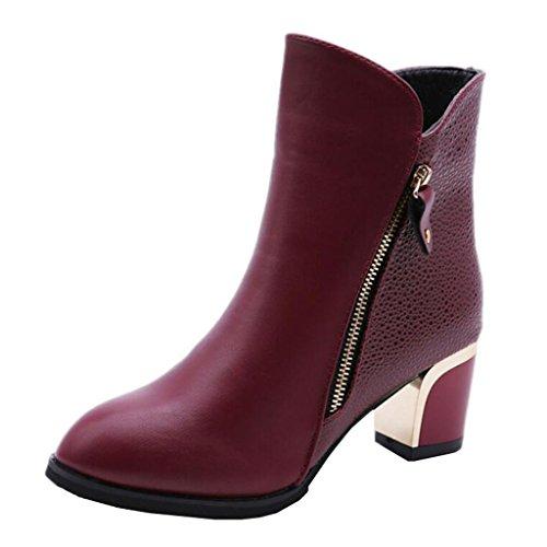 Mashiaoyi Femmes Round-toe Block Zip Bottes Bottes Bourgogne