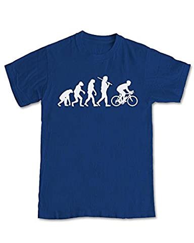 Mountain Bike Rider 'Evolution' T-Shirt - (Navy Blue) L