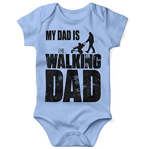 Mikalino Babybody mit Spruch für Jungen Mädchen Unisex Kurzarm My Dad is The Walking Dad | handbedruckt in Deutschland | Handmade with Love, Farbe:Sky, Grösse:62