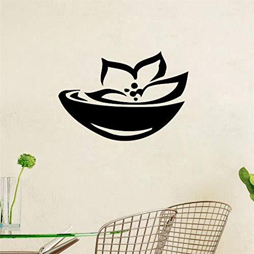 yiyiyaya Lotus Blumen Wandaufkleber Asian Spa Zeichen Wandtattoos Wohnkultur Wohnzimmer Schlafzimmer Wandkunst Murals75x58cm