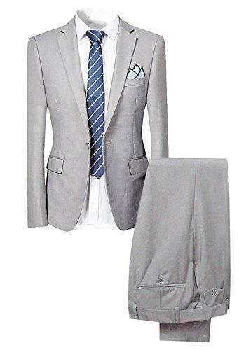 Slim Fit 2-Teilig Herren Anzug für Hochzeit Party HellGrau Medium