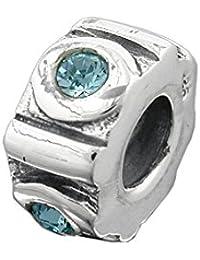 Colgante perla-Bead con cristal colour azul 925 señoras plata