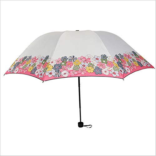LZX Klappschirm kleine frische Sonnencreme Regenschutz und Regen Dual-Use-schwarzer Plastiksonnenschirm,White