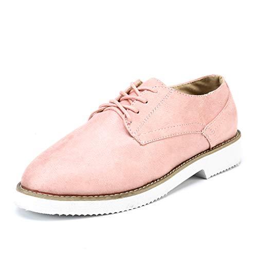 Derby Schuhe Damen Schnürhalbschuhe Flach Wildleder Brogue Wingtips Vintage Oxfords Schuhe Business Low Top 3 cm Rosa 39 (Rosa Schuhe Wingtip)