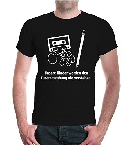 buXsbaum® Herren Unisex Kurzarm T-Shirt Unsere Kinder werden den Zusammenhang nie verstehen   Sprüche Kassette   XXL black-white (Jahre 80er Sprüche)