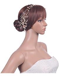 Topwedding Oro perla de la manera torcedura partido de la flor diadema nupcial Tiara Headwear