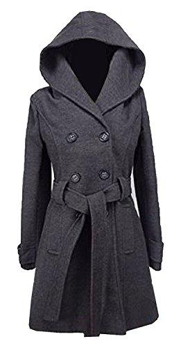 Damen Zweireiher langen Mantel mit Kapuze Wolle Touch Fit Damen Winter Mantel mit Innenfutter Gr. 16, Grau - Grau