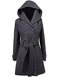 """Womens Double Breasted hooded Coat Jacket Fit Ladies Winter Coat Length 34"""" With Inside Lining"""