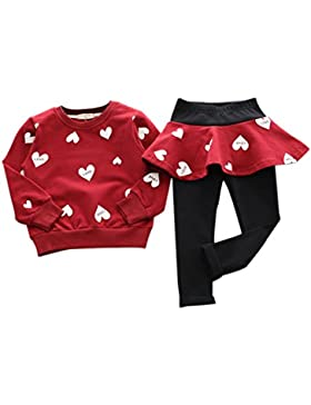 BOBORA Bambine ragazze cuore modello manica lunga pullover camicie + leggings gonna