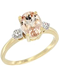 14ct oro amarillo Natural Oval 7 x 9 mm anillo de colgantes de diamantes de acento, de tallas J a T