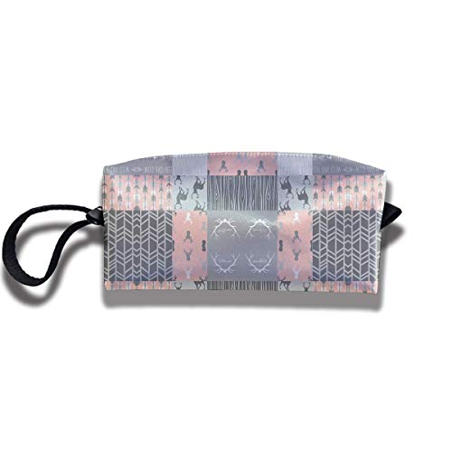 TRFashion Toiletry Bag Coral and Grey Deer A Patchwork SquaresStorage Bag Beauty Case Wallet Cosmetic Bags Aufbewahrungstasche Kosmetiktasche Patchwork Coral
