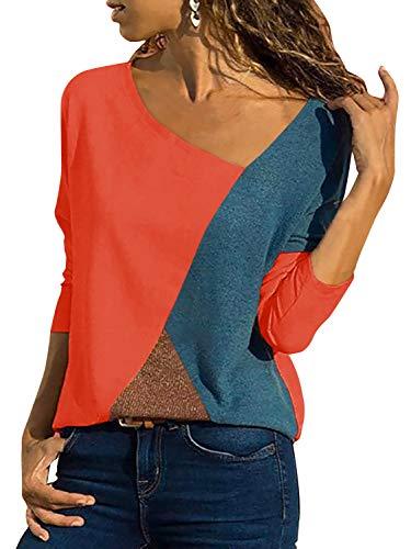 Damen Casual Leopard Patchwork Farbblock Langarm T-Shirt Asymmetrischer V-Ausschnitt Langarmshirt Tops Sweatshirt Tunika Top Pullover Bluse Oberteil (rot, Medium)