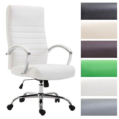 Clp poltrona da ufficio valais xl in similpelle - sedia da ufficio girevole, imbottita e con alto schienale i sedia direttore con braccioli rivestiti i sedia da scrivania con portata max 136 kg bianco