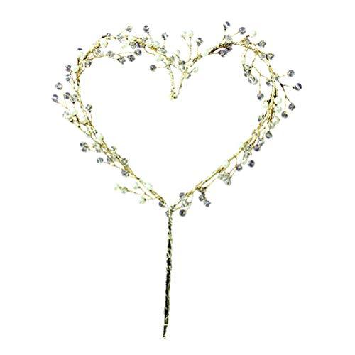 Amosfun cuore cake topper wedding san valentino iron dessert topper con perline decorative per torta di compleanno torta nuziale - matrimonio natale decorazione di san valentino
