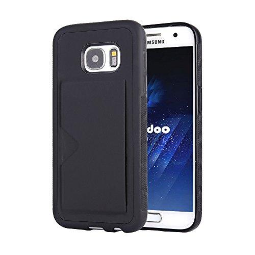 Radoo Coque Galaxy S7, Ultra Mince Cuir PU Premium et Flexible TPU Silicone Hybride Porte-Carte Crédit Porte-Monnaie Arrière Portefeuille Souple Housse Étui pour Samsung Galaxy S7 (Noir)