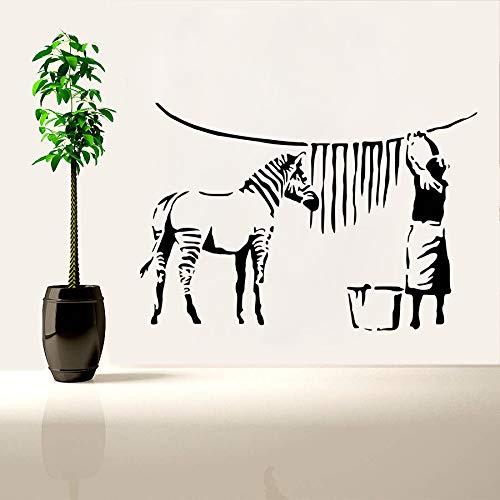 Zebra Plastikkarte Drucker (ljradj Banksy Stil Wandtattoo Zebra Streifen Waschen Dame Wandaufkleber Street Graffiti Removable Wallpaper Malerei Vinyl Kunst84X57 cm)