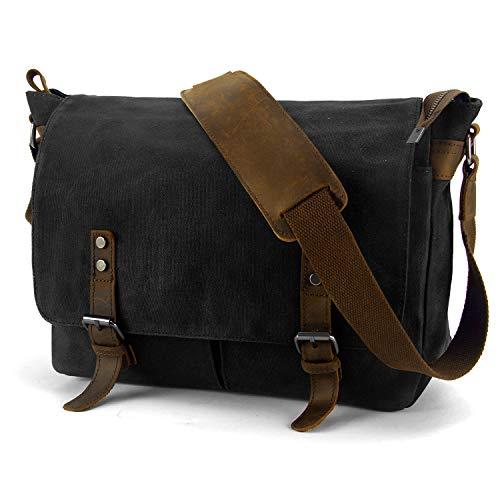 YANGYANJING Wasserdicht Vintage Canvas Leder Messenger Bag Umhängetasche Aktentasche Schultertasche 15 Zoll Laptoptasche Notebooktasche aus Canvas -