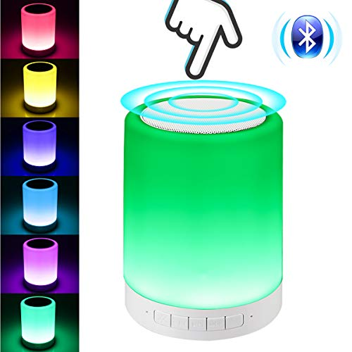 Bluetooth Speaker with Night Light, Tectri Touch Lamp Mood Light Colors Changing LedBedsideLight Wireless Music Player HandsFree Support TF Card AUX for Kids Bedroom Bathroom Outdoor Camping