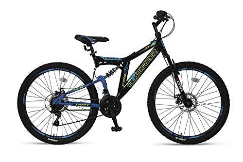 """Altec 26\"""" 26 Zoll Kinder Herren Jugend Fahrrad MTB Kinderfahrrad Mountainbike Bike Rad Vollfederung Fully 21 Gang Shimano Scheibenbremse Black Rider Schwarz Blau"""