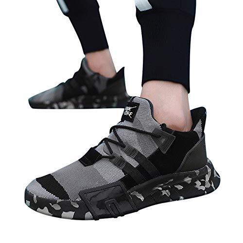 Moika gli uomini ragazzi sneaker casual sport traspirante camouflage piatto pizzo-up scarpe da running (265/44, grigio)
