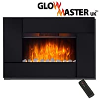 Electric Fire Black Glass Slim Fireplace Wall Mounted Mirror Living Flame Heater