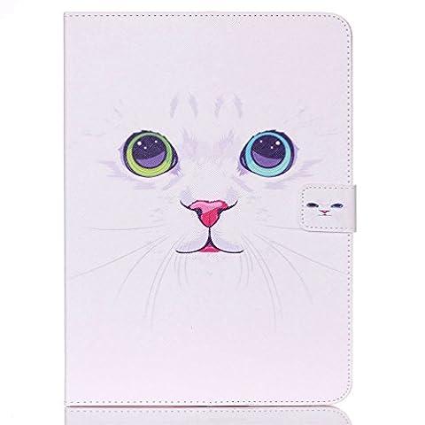 "Etui Samsung Tab 4 10.1"" - Folio Housse Multi-angles Stand Supporter Magnétique Etui à Rabat Coque en Cuir Smart Cover Case pour Tablette Samsung Galaxy Tab 4 10.1 Pouces T530 T531-Chat blanc"