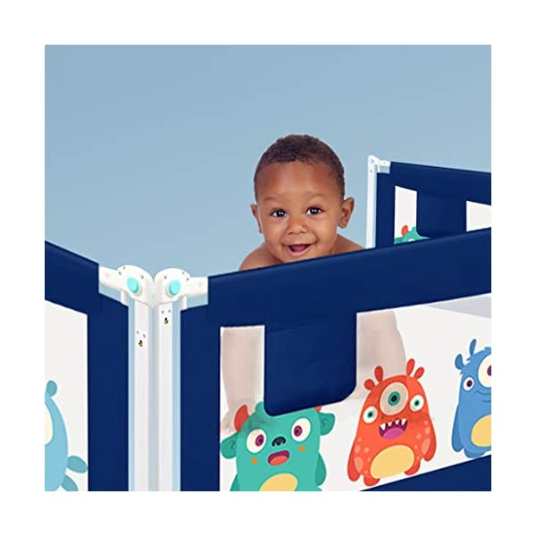Playpens Crib Guardrail Baby Shatter-resistant Fence Large Bed 1.5-2.0 Meters Children Against Bedside Baffle (color : C, Size : 1.8m) Playpens ★ high quality non-toxic materials,Size:150cm/180cm/200cm ★ Vertical lift structure: no space is occupied, and it is more convenient to enter and exit. Push the fence down at the push of a button ★ height adjustment: can be adjusted according to the thickness of the mattress, so that the bed is close to the mattress. Avoid gaps between the mattress and the guardrail to prevent your child from falling 7